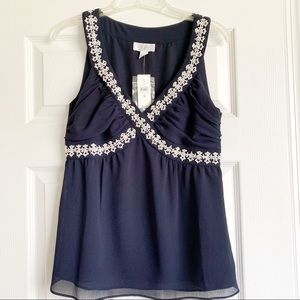 Blue Dressy Tank Top with Beaded Detail NWT
